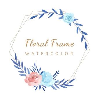 Cadre géométrique avec des fleurs aquarelles