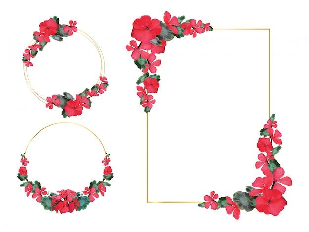 Cadre géométrique floral.