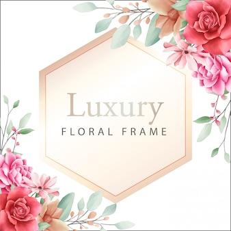 Cadre géométrique de luxe avec bordure de fleurs aquarelle pour compositon de cartes