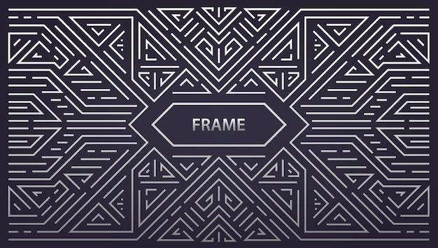 Cadre géométrique monogramme abstrait, argent horizontal vintage