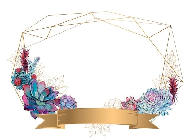 Cadre géométrique en or avec des plantes succulentes