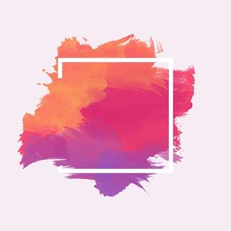 Cadre géométrique sur tache d'aquarelle colorée