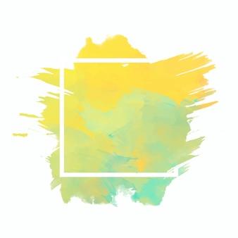 Cadre géométrique sur tache aquarelle