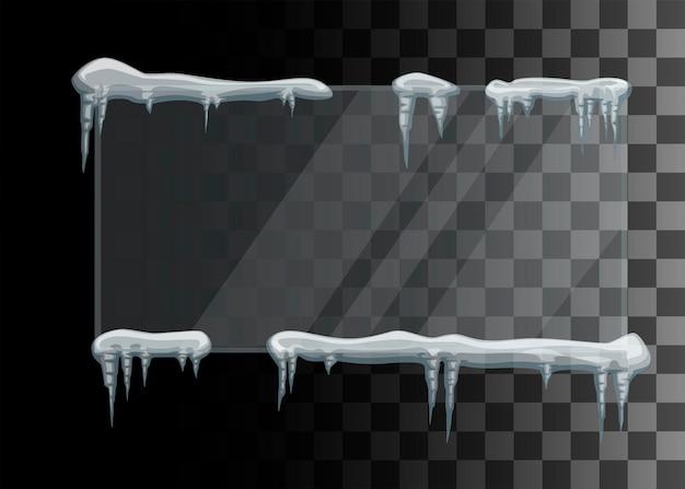 Cadre de glaçons et d'éléments d'hiver de chapeaux de neige autour de l'illustration de vecteur plat de verre isolé sur fond transparent.