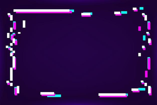 Cadre glitch néon sur fond violet foncé
