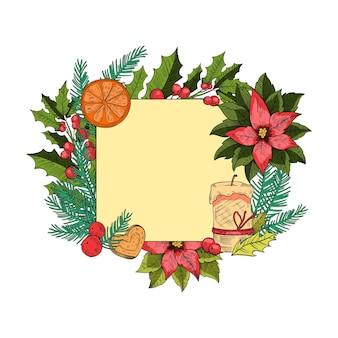 Cadre de gravure de vacances de noël ou du nouvel an avec houx, sapin, baies, bougie, cookie isolé sur blanc. modèle de carte postale festive carrée dans un style vintage. bordure de noël avec des éléments saisonniers