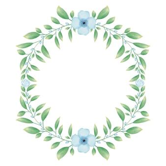 Cadre greencircle avec couronne de fleurs aquarelle bleue