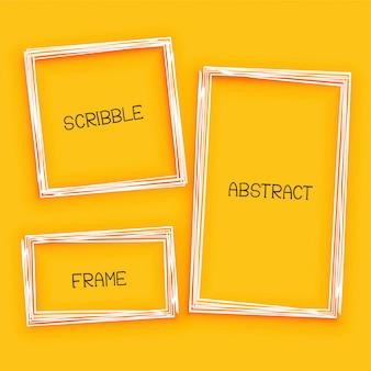 Cadre de griffonnage abstrait sur fond jaune