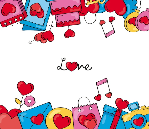 Cadre de griffonnages d'amour