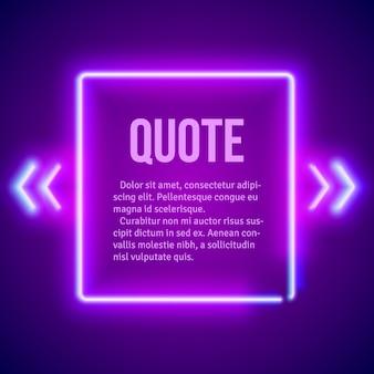 Cadre de guillemets lumineux néon hipster rétro