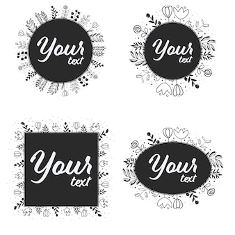 Cadre de guirlande art ligne doodle pour logo ou bannière de médias sociaux