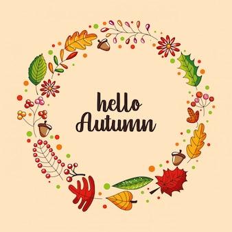 Cadre de guirlande automne avec des feuilles colorées