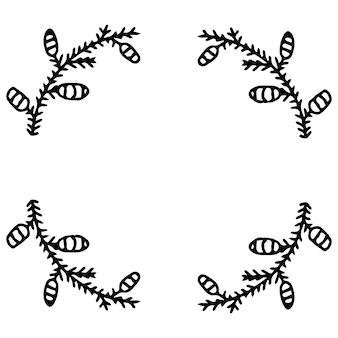 Cadre de guirlande de branches du nouvel an. décoration pour noël.