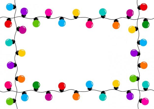 Cadre avec guirlande de décoration de vacances, ampoules colorées