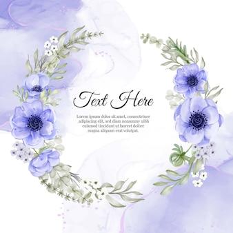 Cadre de guirlande de fleurs d'anémone pourpre fleur