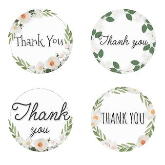 Cadre de guirlande de fleurs de camélia blanc avec texte de remerciement, style plat de collection
