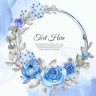 Cadre de guirlande de fleurs de fleur bleu