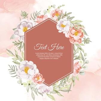 Cadre de guirlande de fleurs de pivoines fleur pêche et blanc