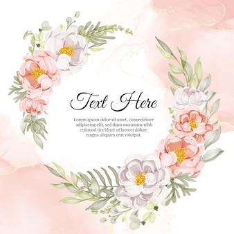 Cadre de guirlande de fleurs de pivoines pêche et blanc