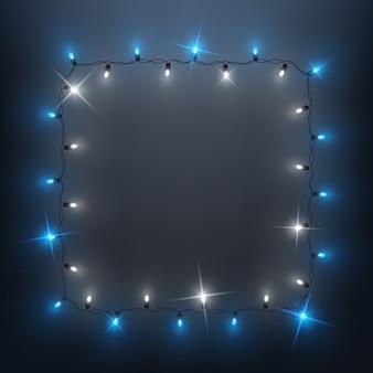 Cadre de guirlande de lumières led brillantes, design de fond, noël, nouvel an
