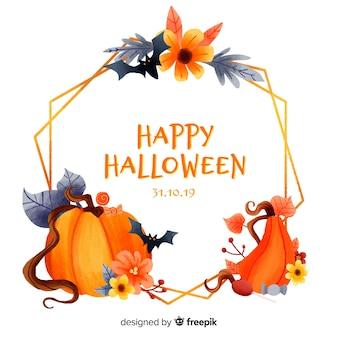 Cadre de halloween aquarelle variété de citrouilles et chauves-souris