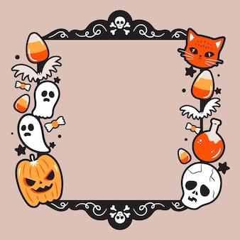 Cadre halloween au design plat
