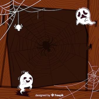 Cadre d'halloween en bois avec des fantômes