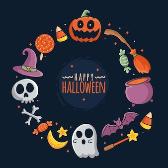 Cadre d'halloween design dessiné à la main