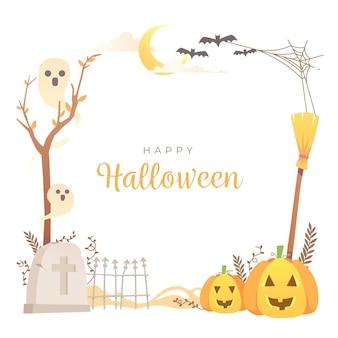 Cadre d'halloween design plat