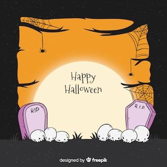 Cadre d'halloween dessiné à la main sur un design plat
