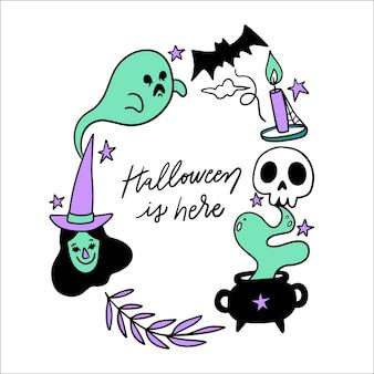 Cadre d'halloween dessiné à la main