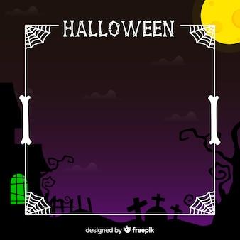 Cadre halloween effrayant avec un design plat