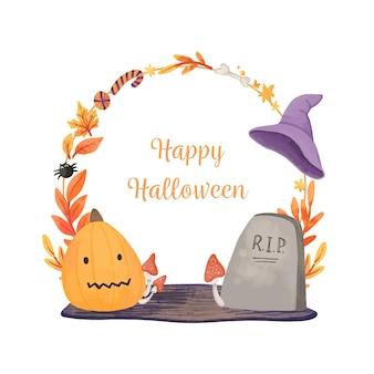 Cadre d'halloween heureux aquarelle