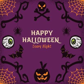 Cadre d'halloween heureux dessiné à la main