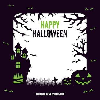 Cadre de halloween avec maison hauted
