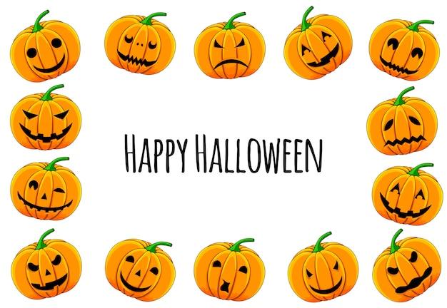 Cadre halloween pour votre texte avec des attributs traditionnels. style de bande dessinée. illustration.