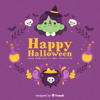 Cadre halloween spooky dessiné à la main