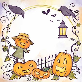 Cadre d'halloween de style aquarelle