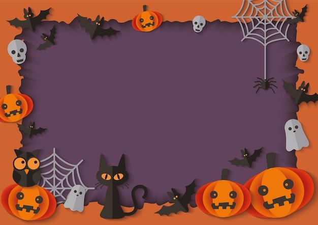 Cadre halloween vide avec des citrouilles et des animaux fantasmagoriques