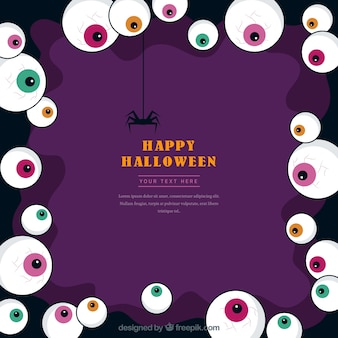 Cadre de halloween avec des yeux colorés