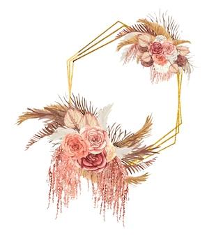 Cadre hémométrique doré avec des fleurs boho aquarelles