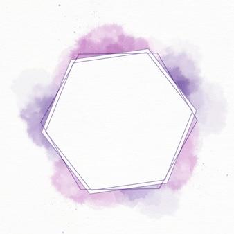Cadre hexagonal aquarelle abstraite