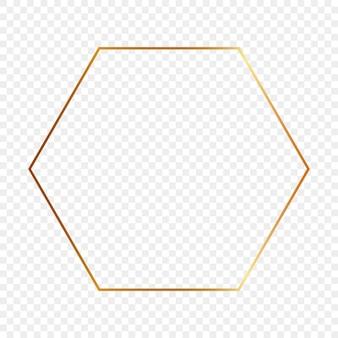 Cadre hexagonal brillant or isolé sur fond transparent. cadre brillant avec des effets lumineux. illustration vectorielle.