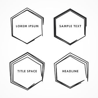 Cadre hexagonal dans le style griffonner et doodle