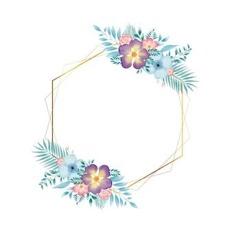 Cadre hexagonal doré avec couronne florale aquarelle colorée