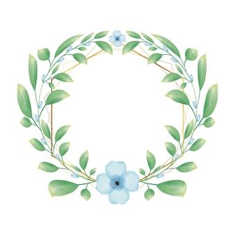 Cadre hexagonal doré avec couronne florale de fleur aquarelle bleue