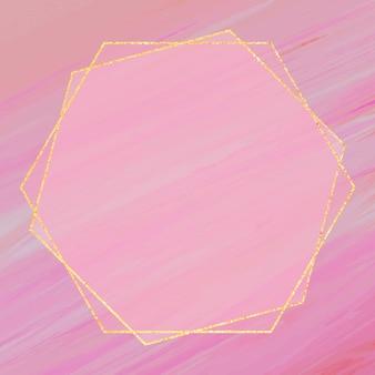 Cadre hexagonal sur fond rose
