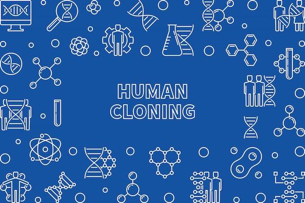 Cadre horizontal de clonage humain. illustration