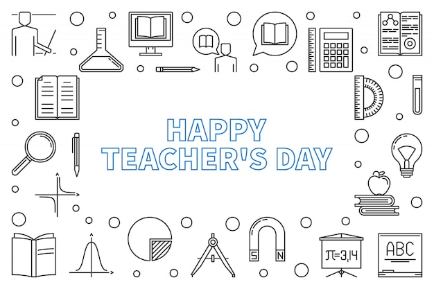 Cadre horizontal de contour de happy teacher's day