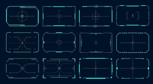 Cadre hud. bordures de cibles de jeu futuristes, bannières vides de science-fiction pour le texte, interface de technologie de menu. ensemble d'écrans d'interface utilisateur de technologie cible de verrouillage vectoriel